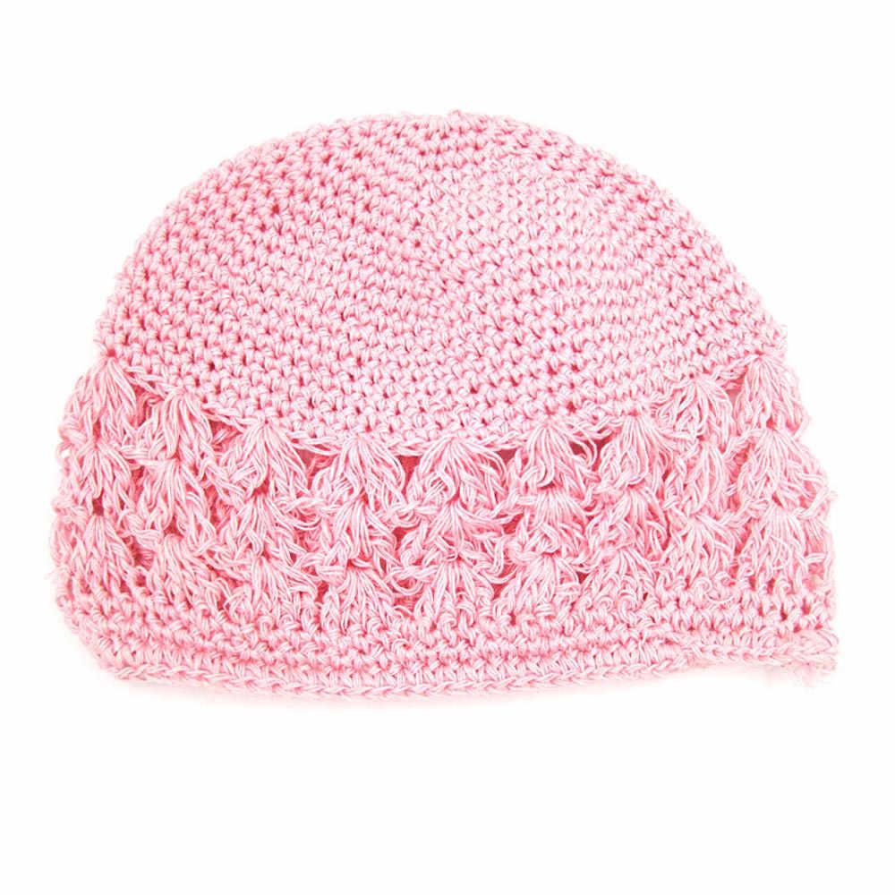 ฤดูใบไม้ร่วงฤดูหนาวถักโครเชต์หมวกเด็กหมวกเด็กหมวกเด็กเด็กทารกเด็กทารกเด็กวัยหัดเดิน Hollow Out Solid Headwear หมวกต่ำสุดราคา