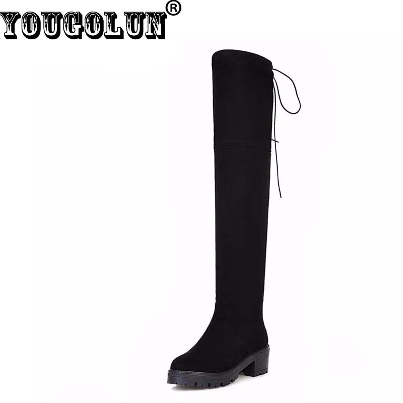 YOUGOLUN Winter Women Thigh High Boots Black Stretch Fabric Over The Knee Mid Square Heel 5cm #Z-131 yougolun women snow boots 2017 winter thigh high over the knee cross strap low square heel fur long plush n 371