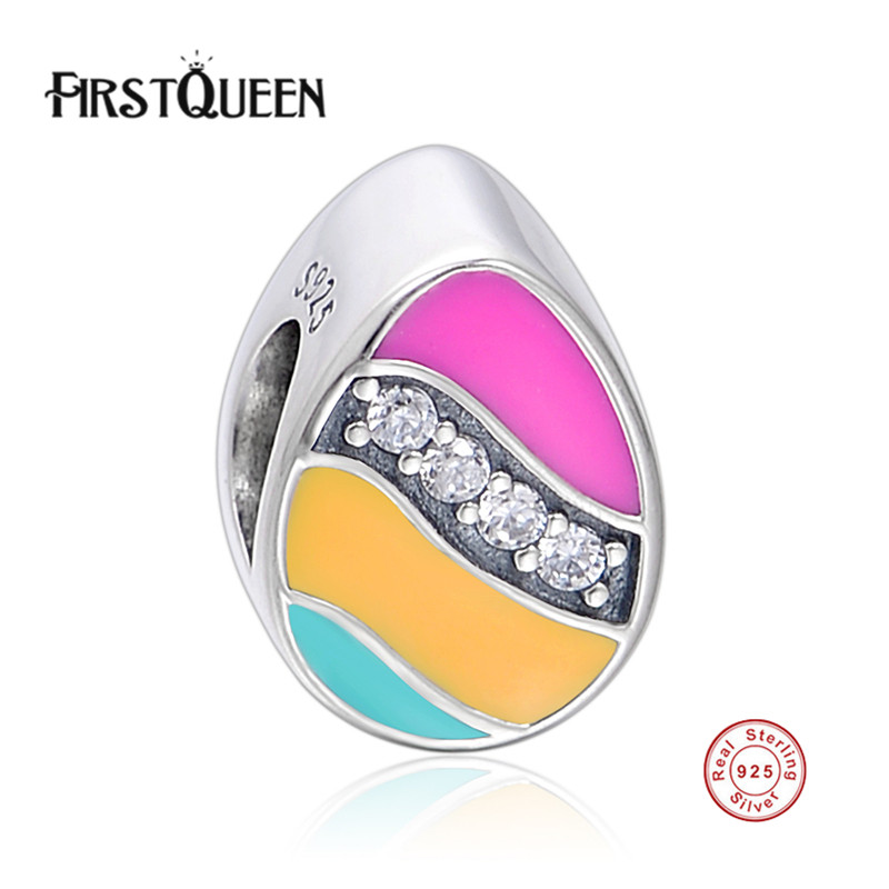 FirstQueen 925 Sterling Silver Rainbow Colour Enamel Bead Charm Fit Bracelet & Necklace DIY Fine Jewelry