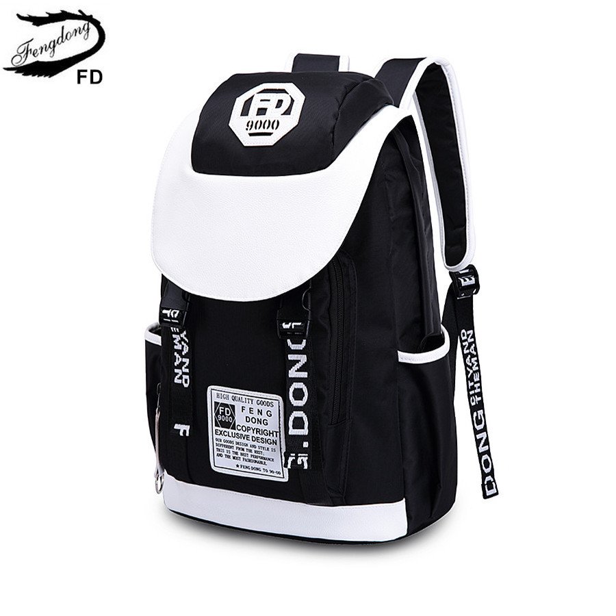 FengDong feminine fashion laptop backpack women travel bags black and white big school bags for girls bookbag boy computer bag