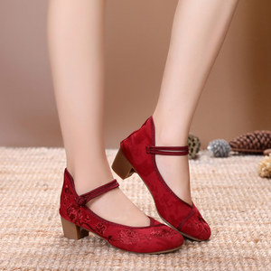 Image 3 - Veowalk Vintage Embroidery Women Mid Block Heel Shoes Canvas Pumps for Elegant Ladies Woman Cotton Embroidered Chinese Shoes
