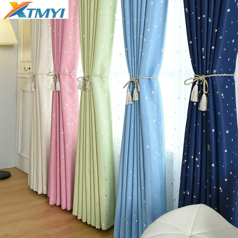 Blue star Children Curtains Bedroom Living Room Blackout kids room curtains  girls Cartoon Window Fabric custom made