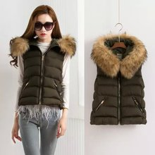 2016 Winter new Fashion Women Hooded Patchwork Sleeveless Padded Jacket Coat hot sale