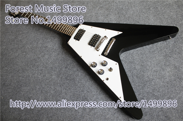 Cheap Hot Edition Left Handed 1958 Korina Flying V Guitar In Glossy Black Color For Sale