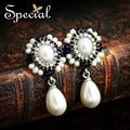 Special de la moda pendientes de perlas pendientes de gota de agua blanco y negro perlas sintéticas 2017 regalos de boda mujeres ed141169