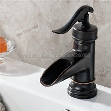 Oil Rubbed Bronze Basin Faucet Waterfall Vessel Sink Bathroom Faucet Single Hole / Handle Basin Mixer Tap Knf432