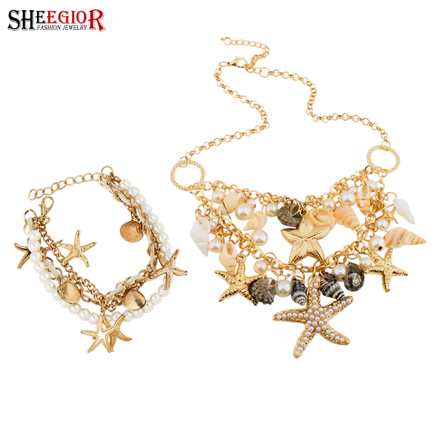 Sheegior Conch Shell Starfish Simulated Pearl Necklaces Bracelet & Bangles  Jewelry Sets Bohemian Summer Women Statement