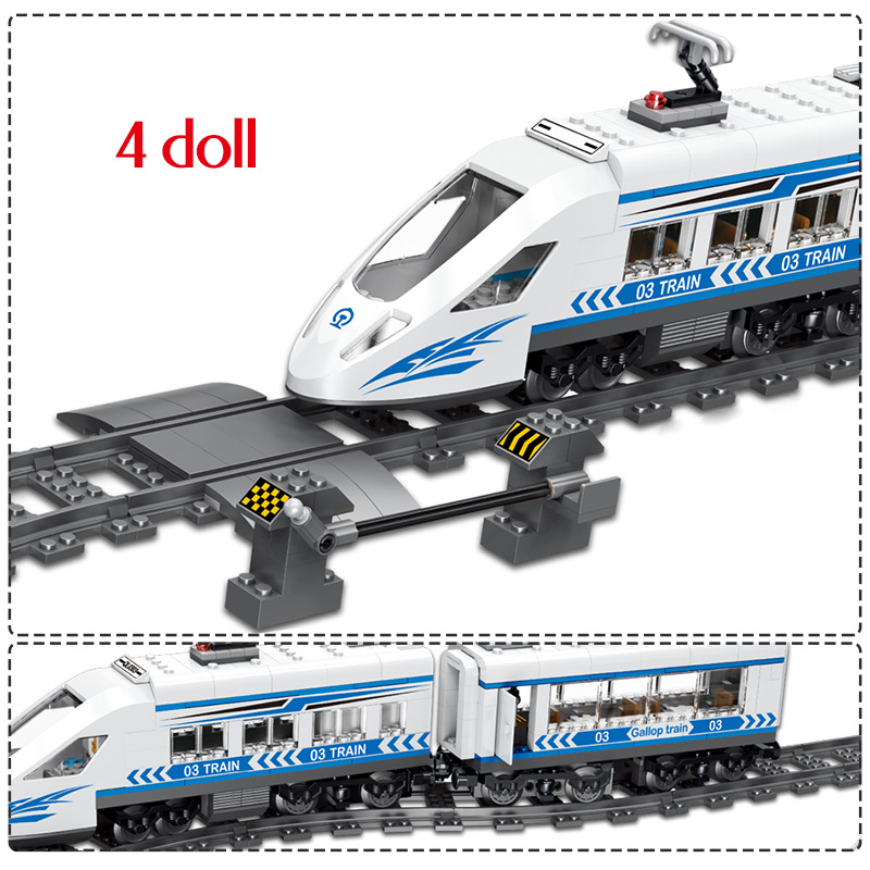 Image 5 - 583pcs RC Blocks legoingly Technik City Series Railway Train Station High speed Rail Building Blocks Bricks Sets Toys For Boys-in Blocks from Toys & Hobbies