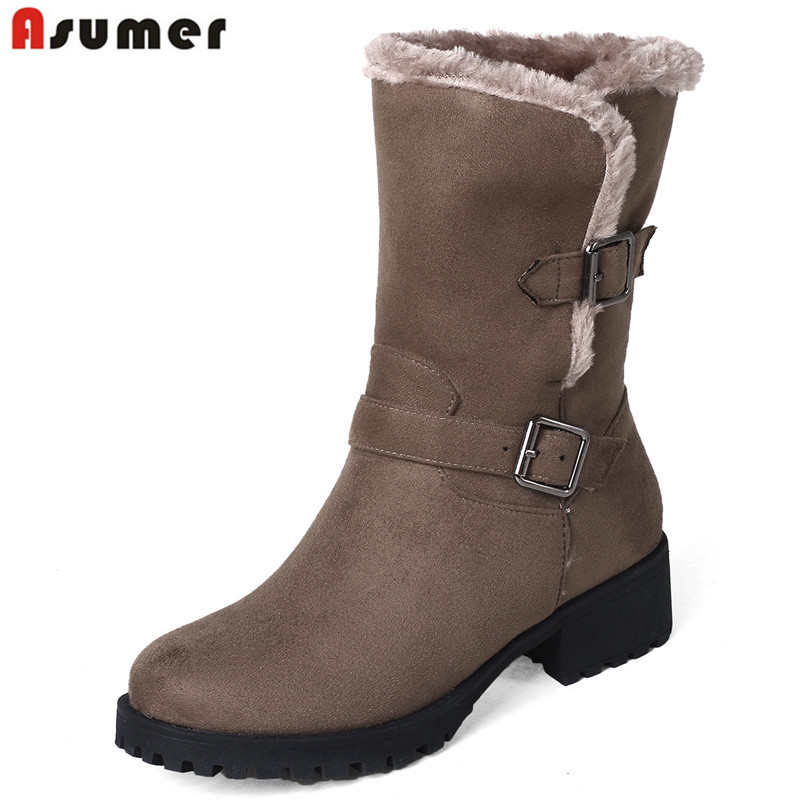 цена на ASUMER 2018 hot sale 2018 women's winter boots med heels flock ankle boots keep warm short plush Retro ladies snow boots
