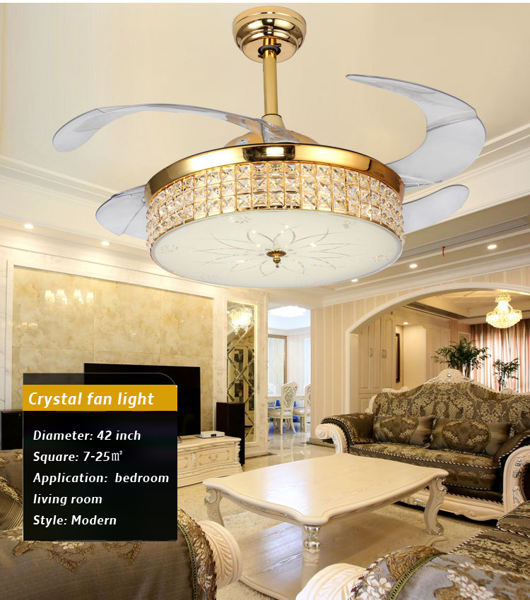 Cristal de luxe ventilateur de plafond lumière gradation contrôle K9 cristal ventilateur de plafond lumière Simple ménage salon ventilateur lampe 42 pouces