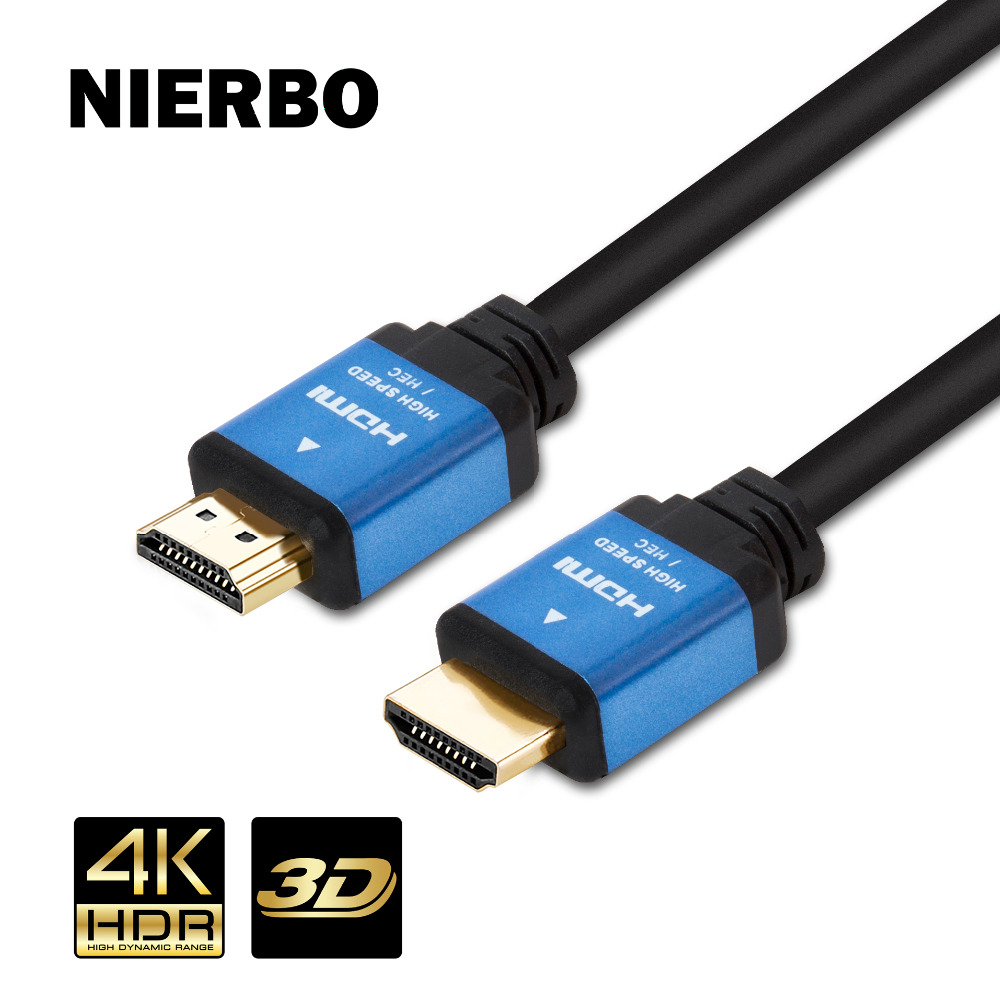 NIERBO 2m HDMI 2.0 cable 4K 3D HDR 60Hz CERTIFIED 18Gbps Speed Male to Male Copper Core Wire for HDTV Computer PS3/4 Projector