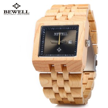 Bewell mode montre à Quartz hommes montres en bois, calendrier résistant à l'eau montre-bracelet analogique, décontracté