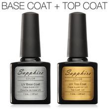 """""""Saphhire Hot Professional UV"""" nagų gelis Top Coat Top it off + pagrindinis kailio pagrindas UV gelio nagų lakui saugus natūralus UV gelis 7.3M"""