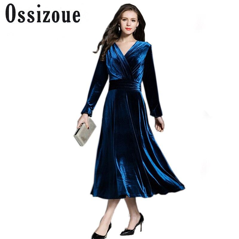 Paon Velours Bleu Maxi Robe D'hiver Robes Femmes 2017 Robe Longo Col V Grand Pendule Longue Soirée Partie Robes K323780