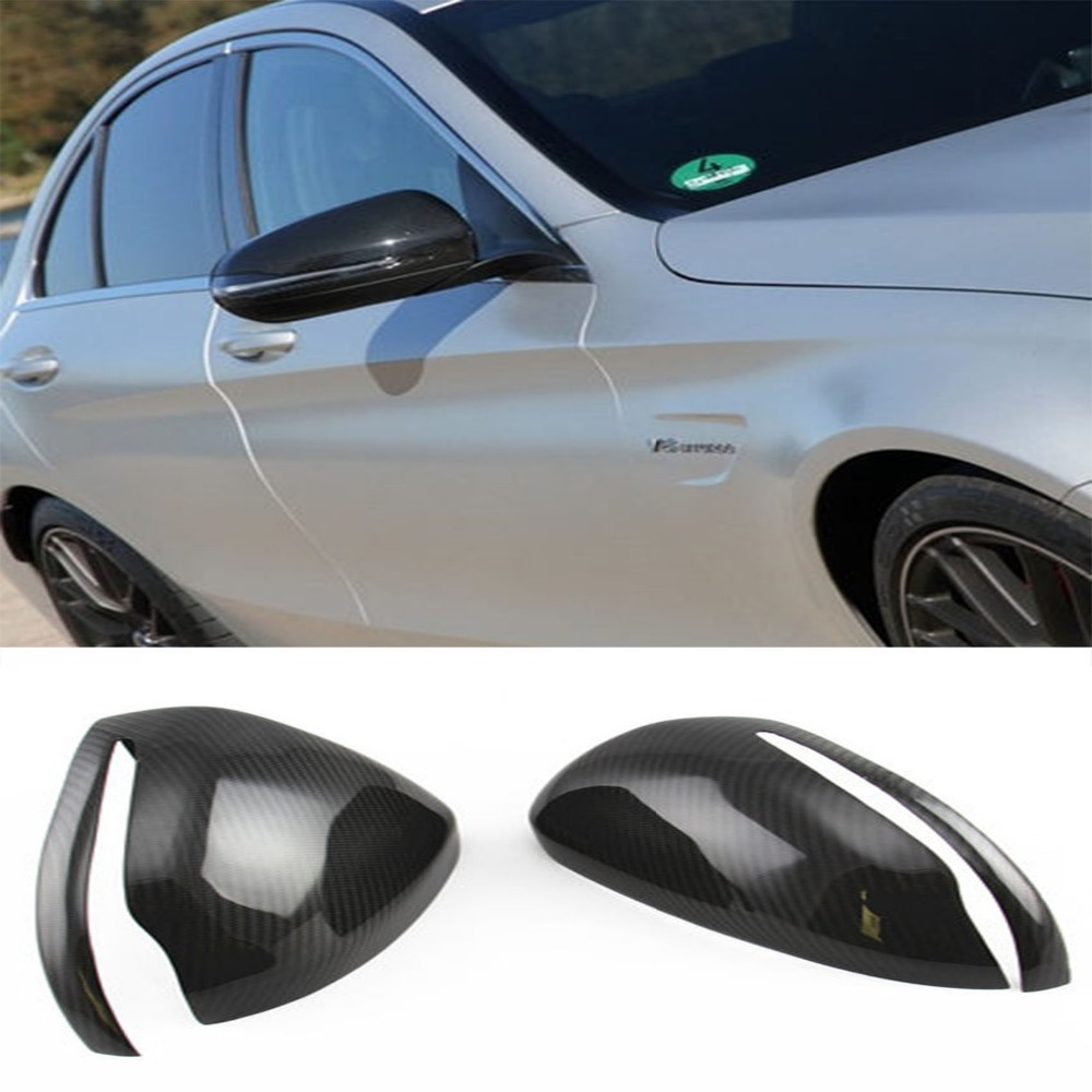 W205 Carbon Fiber Car Rear Mirror cover trim For Mercedes Benz W205 C Class C260L C200L C180 Sedan 2015 2015 2016 amg style w205 carbon fiber rear trunk spoiler wings for mercedes c class c180 c200 c250 c300 c350 c400 c450 c220