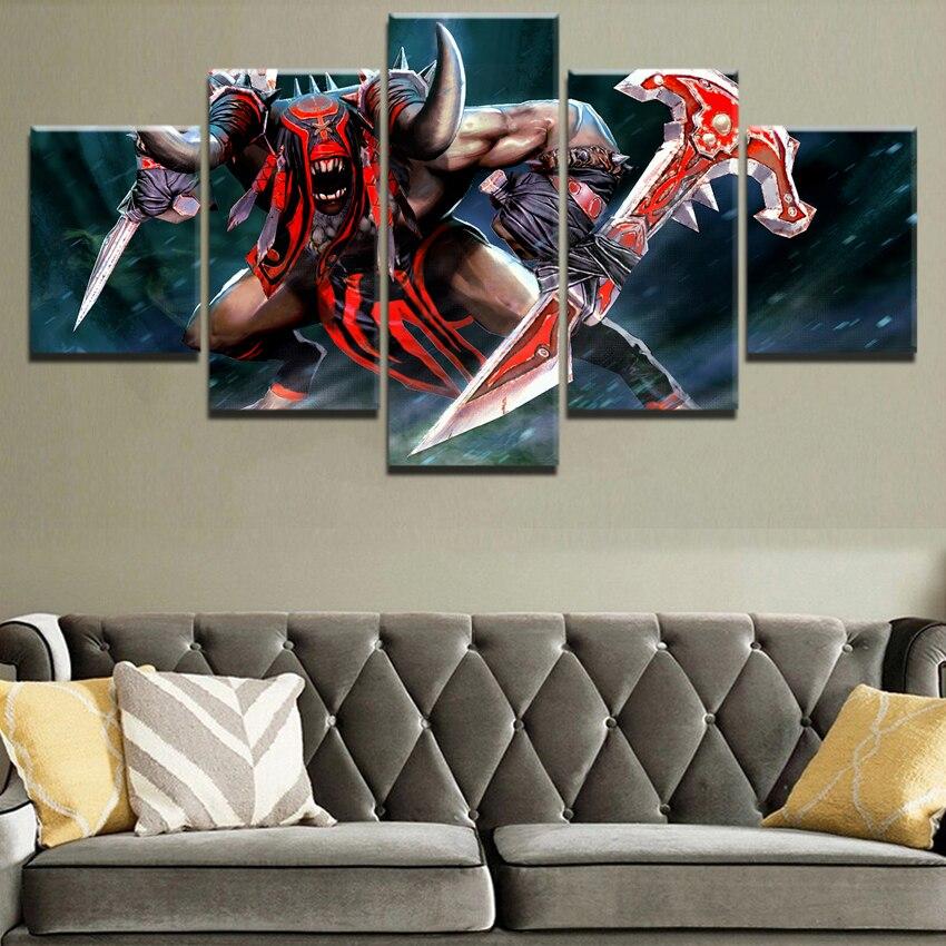 Современные стены Книги по искусству Декор рамки модульная холст игры картинки HD печатные картины 5 Панель окровавленный Dota 2 Fire Warrior плакат