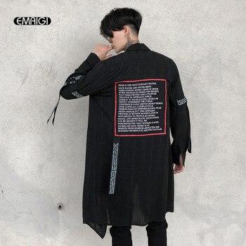 Erkekler Ince Ekose Örgü Uzun Gevşek Rahat Gömlek Sahne Gençlik Erkek Yüksek Sokak Moda Hip Hop Punk Uzun Kollu Şerit gömlek