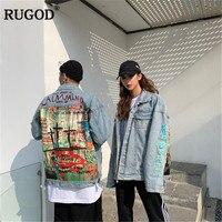 RUGOD Harajuku style fashion women jacket denim jeans long sleeves single breasted back print modis femme streetwear