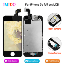цена на 5PCS High Quality Full Set LCD For iPhone 5S LCD display Touch screen Digitizer Assembly Home button+Front camera DHL shipping