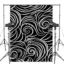 Abstract Waves Photography Backdrop Black White Clouds Background Art Photo Studio Wall 5x7ft