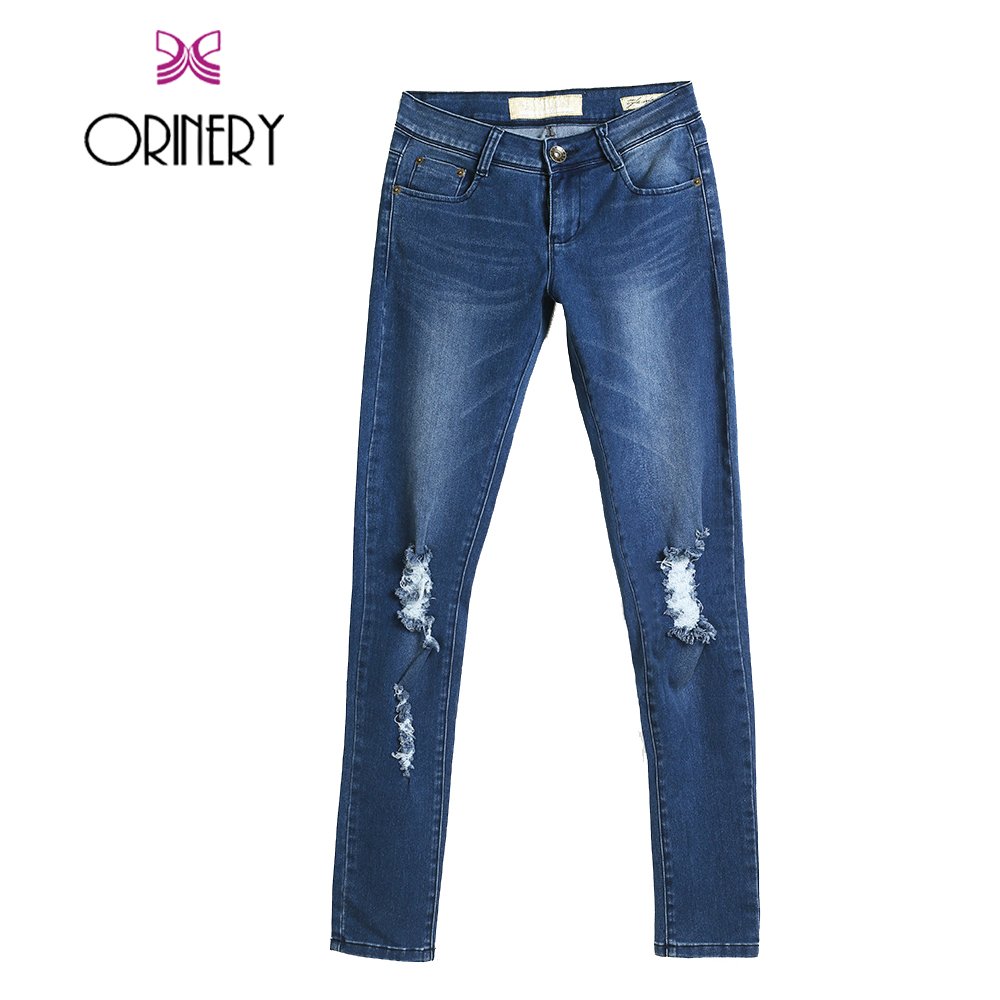ФОТО ORINERY Hot Sale Ripped Jeans for Women 2017 Vintage Designer Blue Distressed Denim Jeans Fashion Brand Solid Skinny Jeans Woman