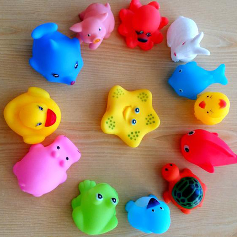 10Pcs/Lot Animals Swimming Water Toys Colorful Soft Floating Rubber Duck Squeeze Sound Squeaky Bathing Toy For Baby Bath Toys-in Bath Toy from Toys & ...
