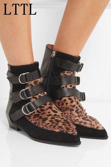 Botines Suede Correas Leopard Mujeres Moda Lttl Punta Hebilla Yqxf4IwwF