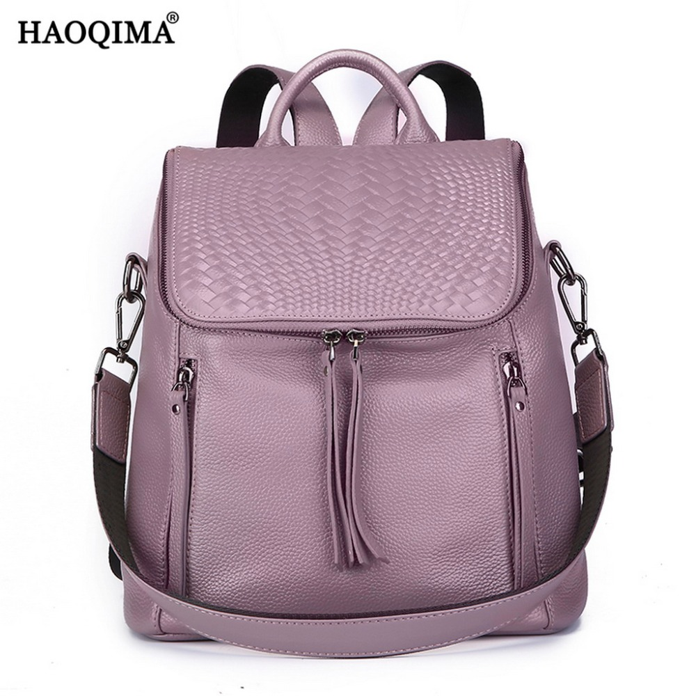 HAOQIMA Female Genuine Leather Backpacks Real Cowhide Women Backpack Bag For School Teenagers Girls Back Pack Sack
