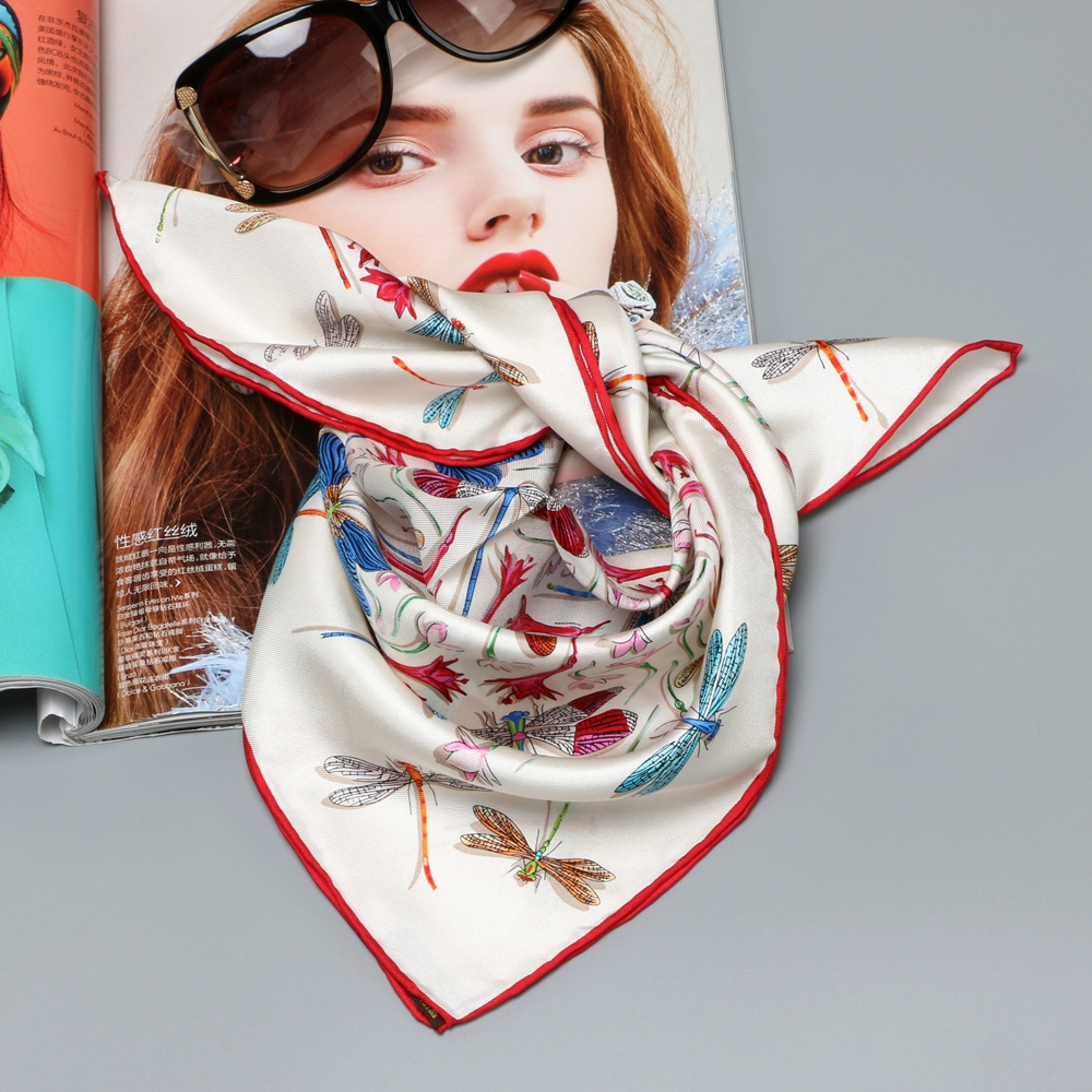 Small Square Silk Scarf 100% Silk Bandana Neckerchief Wraps Fashion Dragonfly Print Scarves 53x53cm