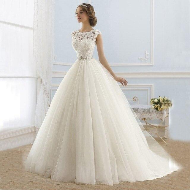 2016 Принцесса Свадебные Платья Jewel Аппликация Из Бисера Тюль Свадебные Платья Свадебные Платья Novia