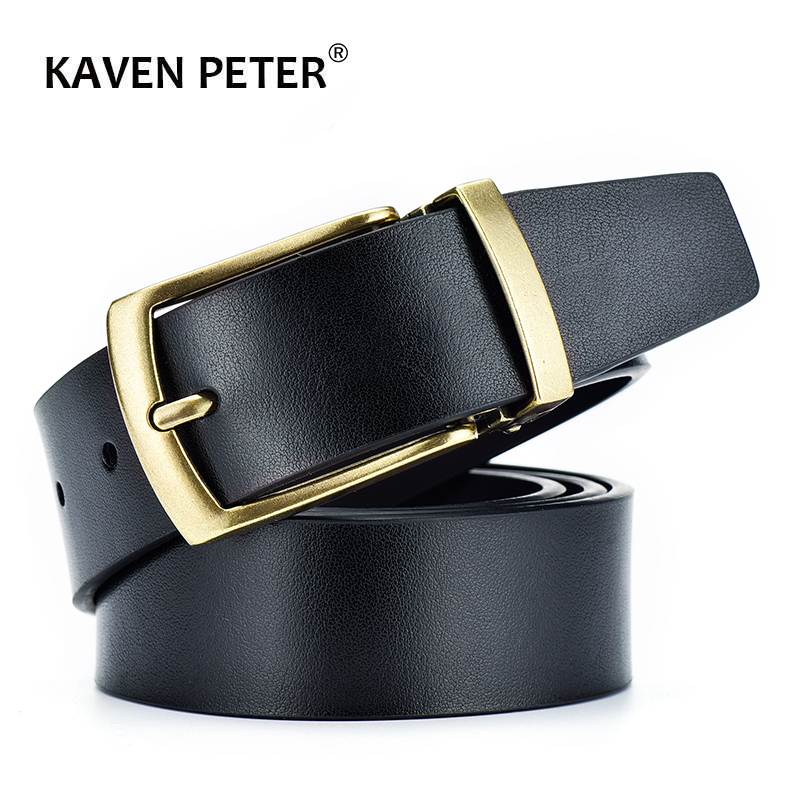 Belt Male Cowhide Genuine Leather Belts For Men Classic Simple Strap Luxury Antique Gold Pin Buckle Cummerbunds Ceinture Homme