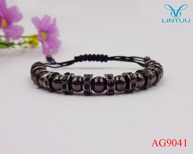 2016 Brand Men Bracelets Micro Pave Black CZ Braided Macrame European American Weaving Bracelets Jewelry pulseira masculina