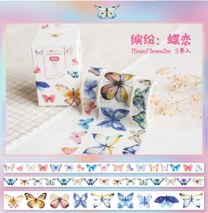 3 Pcs/pack Colorful Butterfly Bullet Journal Washi Tape Set Adhesive Tape DIY Scrapbooking Sticker Label Masking Tape