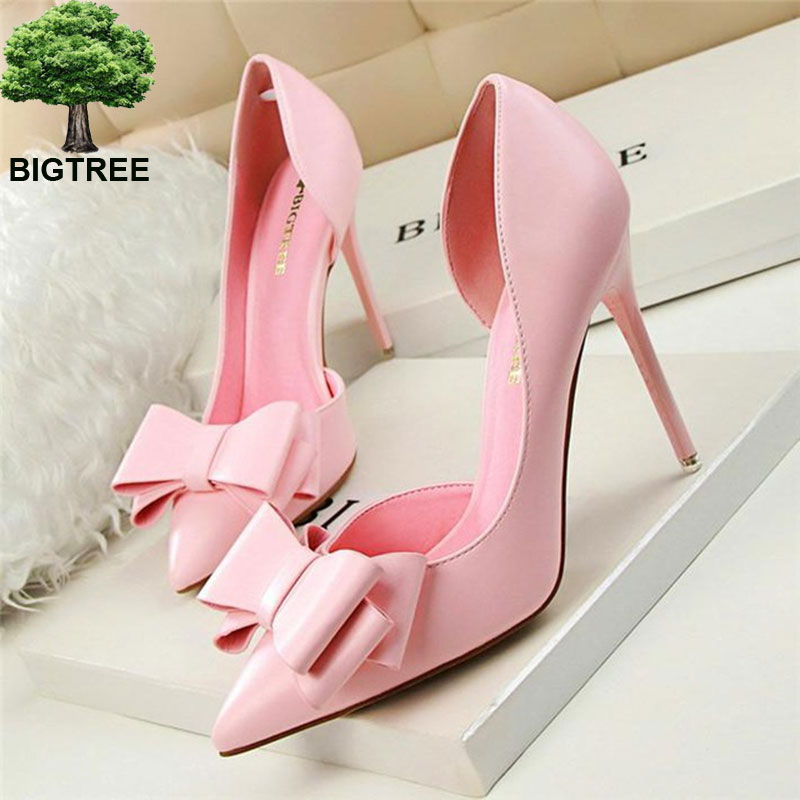 BIGTREE 7 Colors Sweet Bowtie Pointed Toe Women Pumps New Fashion Patent Leather Sexy Side Cut-outs Shallow High Heels Shoes