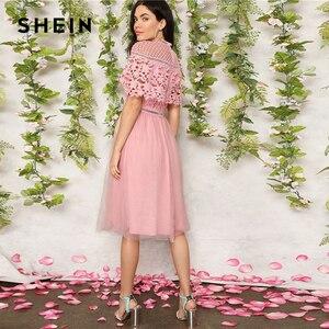 Image 3 - SHEIN élégant rose Guipure dentelle superposition maille ourlet Midi fête robe dété femmes 2019 ajustement et Flare une ligne solide robes douces