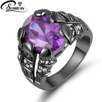 Nueva Joyería de La Manera Tamaño 8 9 10 11 anillo de Amatista 10KT de Regalo Negro Anillos de Rodio plateado para hombres R020