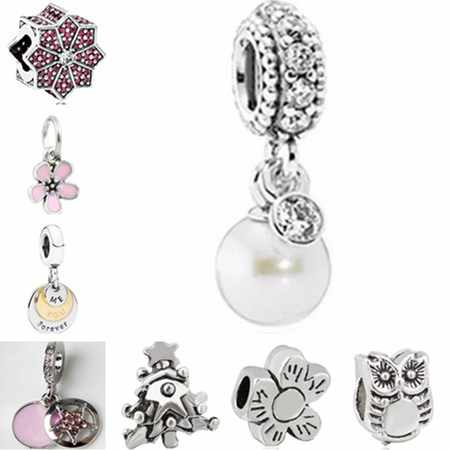 Simple Style Party DIY Jewelry Small Cat Flowers Hearts Owl Simulated Pearl Beads Charms Fit Pandora Bracelets Women Handmade