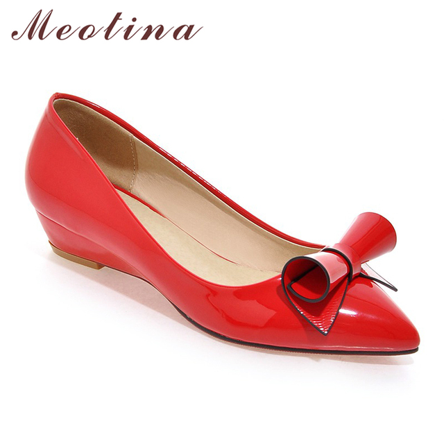 Meotina Shoes Women Bow Low Heels Ladies Wedge Heels Bridal Shoes Patent Leather Footwear Female White Red Plus Size 9 10 42 43