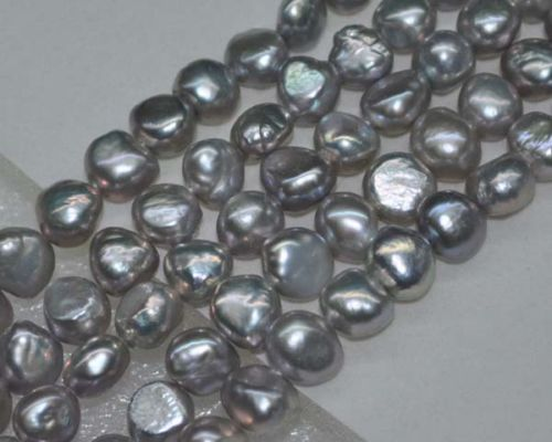 Lots 5 brins AA + 8 - 9 mm lustre Rare gris nugget perles deau douce