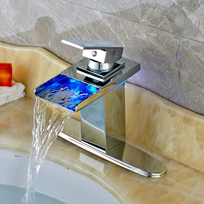 все цены на Free Shipping Chrome Waterfall LED Spout Bathroom Sink Faucet Single Handle Mixer Tap With Cover Plate онлайн