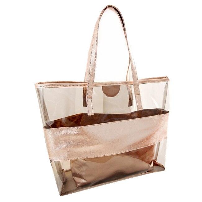 8e3e9ee2260f Прозрачный пакет 2018 Новая летняя пляжная сумка композитный желе кристалл  Сумки на плечо женская сумка бесплатная доставка