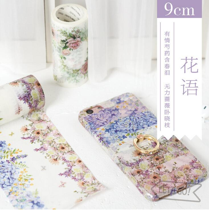 Flowers In Fashion Decorative Washi Tape DIY Scrapbooking Masking Tape School Office Supply Escolar Papelaria 1 5cm 7m flowers fox steamer mushroom decorative washi tape scotch diy scrapbooking masking craft tape school office supply