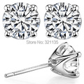 Classic 4-Prong Round Stud Earrings 14K Gold Total 2 Carat One Pair Lab Grown Moissanites Diamond Stud Earrings Fine Jewelry