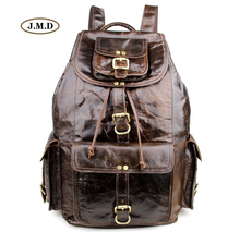 J.M.D Genuine Leather Four Exterior Pockets Causal Travel Rucksack Fashion Backpack College Student School Laptop Bag 7268C