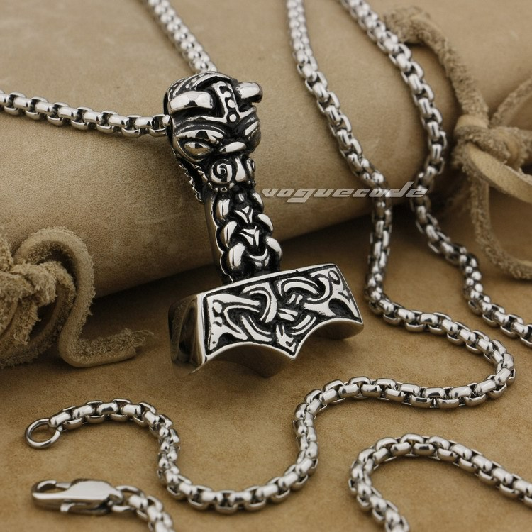 316L Stainless Steel Thor's Hammer Mens Pendant Viking Norse Warrior AJ06(Necklace 24inch)