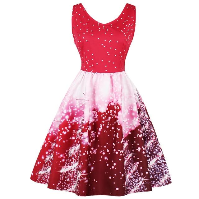 023858110489 Kenancy Christmas Dot Star Space Print Sleeveless Party Dress Plus Size 3XL  4XL Women 60s Audrey Retro Dress Robe Femme Vestidos