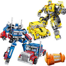 1033pcs Transformation Robot Car 2in1 Bricks City Building Blocks Sets Creator Educational Technic DIY Toy For Children(China)