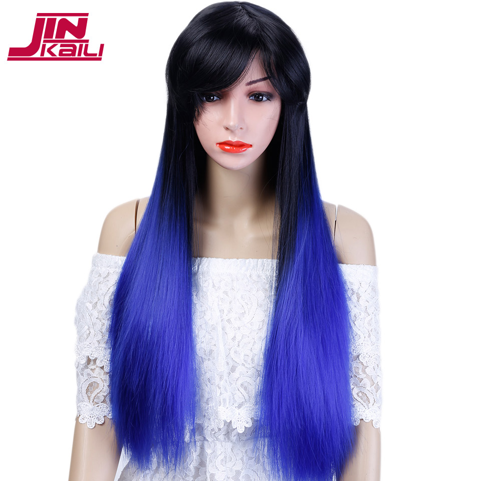 JINKAILI WIG Long Staight Ombre Black to Blue Wigs with Bangs Heat Resistant Synthetic Hair Wig Long Cosplay Wig