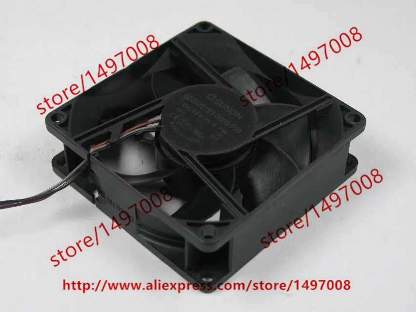 Free Shipping For SUNON EE80251S1-0000-F99 DC 12V 1.7W 3-wire 3-pin connector 80mm 80x80x25mm Server Square Cooling Fan free shipping for sunon gb1207ptv2 a 13 b4396 f gn dc 12v 2 2w 3 wire 3 pin connector 70mm 70x70x25mm server square cooling fan