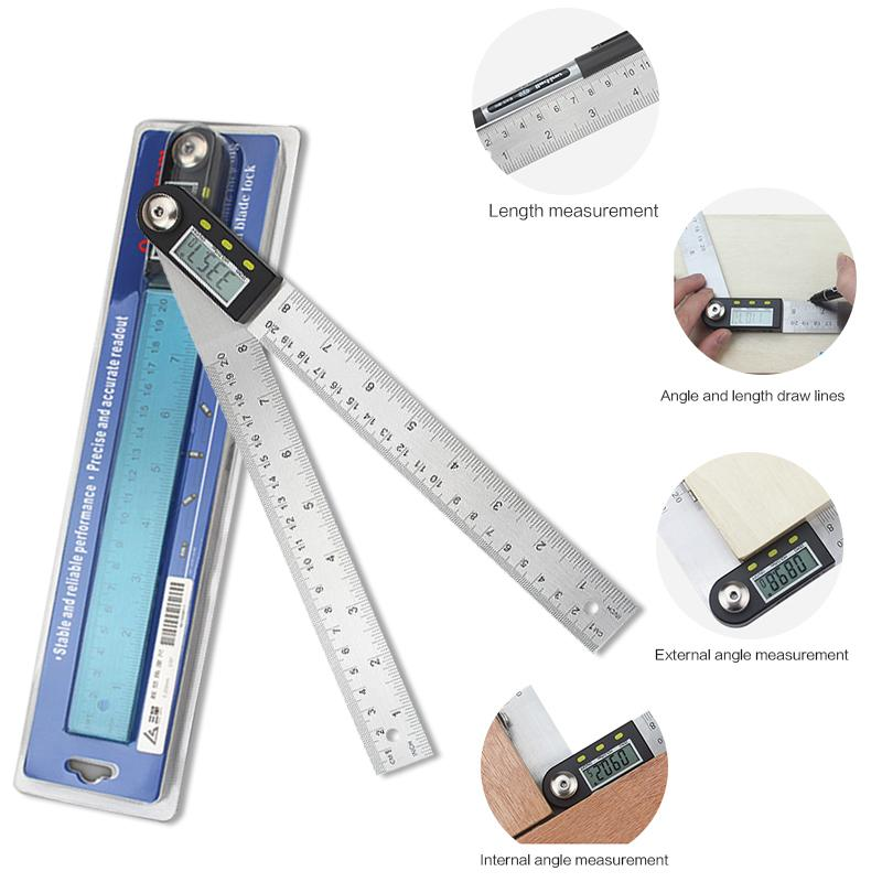 Woodworking Measuring Tools 200mm Stainless Steel Digital Level Measuring Angle Finder Ruler Tester Tools for scale